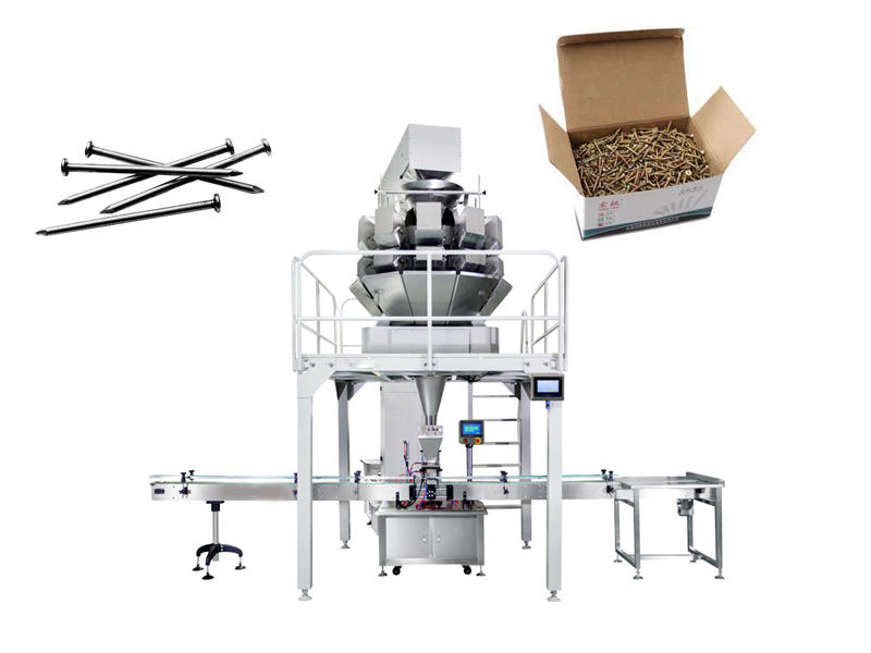 How to pack heavy Nail screw bolt into box or bag? by multihead weigher? or by linear weigher?