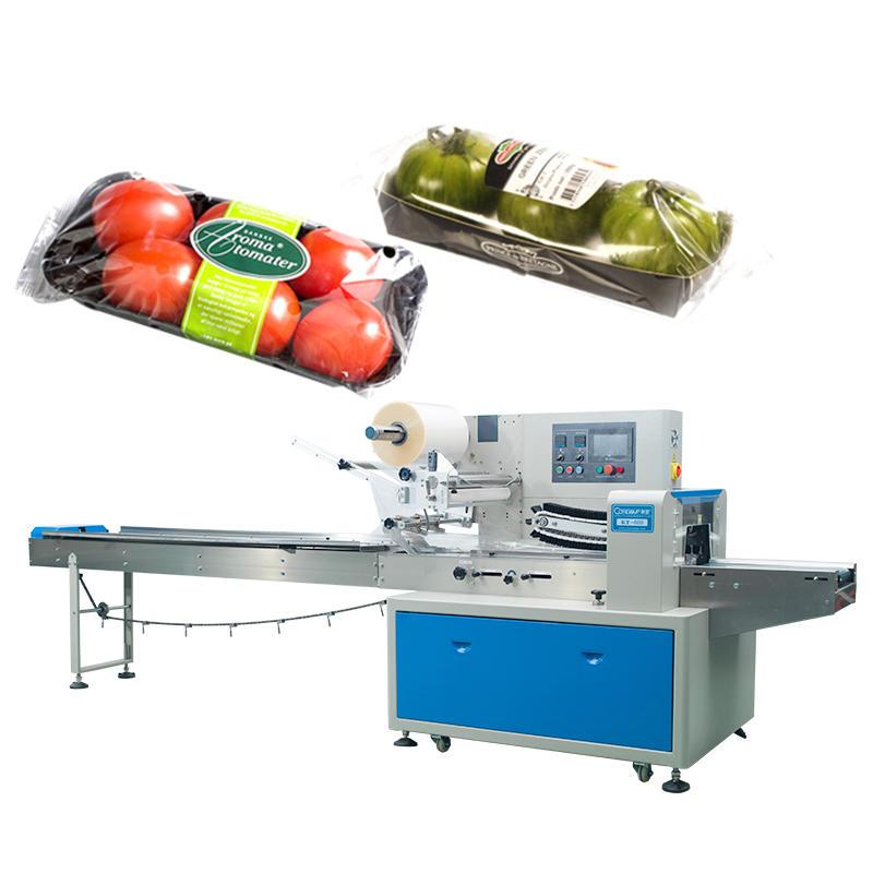 Bolsa de plástico automático Máquina de embalaje de fruta fresca y flujo de vegetales