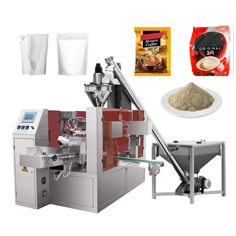 Automatice Eight position Rotary Augar Starch Flour Zipper Bag Packaging Machine
