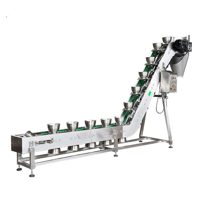 Food Grade Packing System Stainless Steel Inclined Bowl Elevator Conveyor