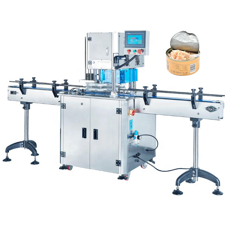 Fully Automatic Can Packing Tuna  Sealing Machine Food Easy Open Paper PET Tin Can Sealing Seamer Machine
