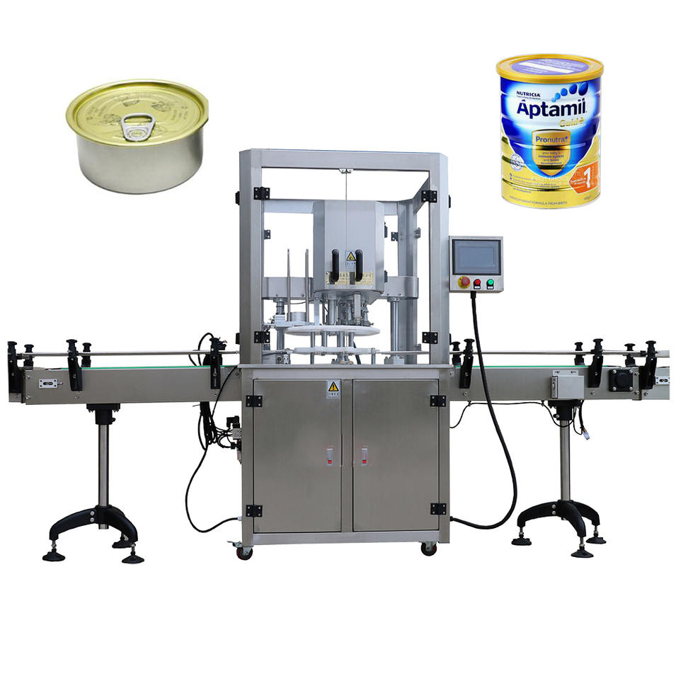 Fully Automatic Servo Driven Packing Granule Coffee Grain Powder Can Sealing Machine For Plastic Paper Bottle Auminum Tin