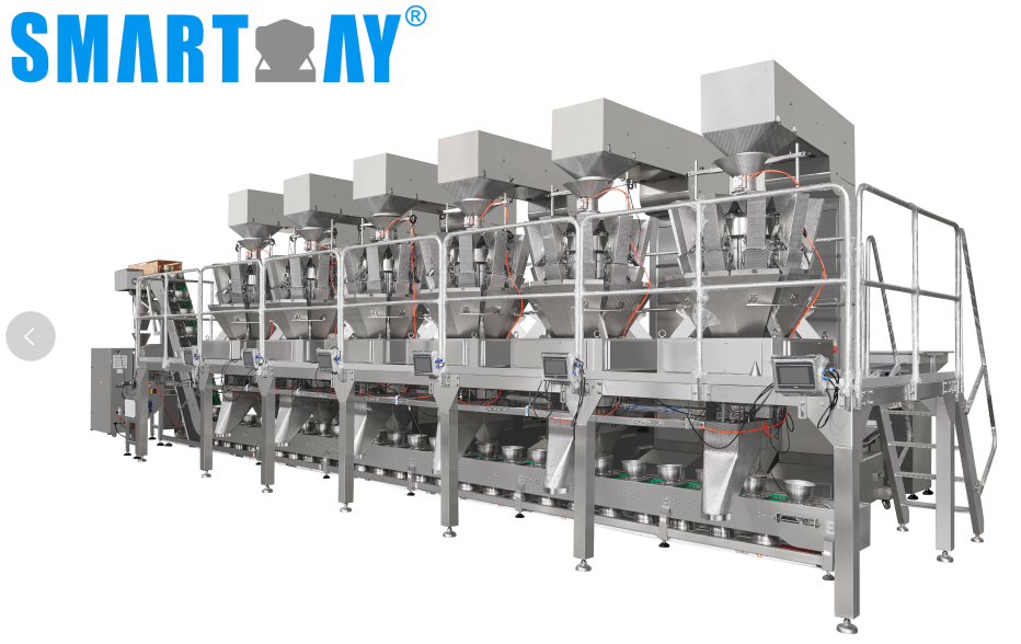 how to count and pack 6 different tast candy into vertical form fill sealing machine?